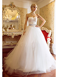 Ball Gown Sweetheart Sweep / Brush Train Satin Tulle Wedding Dress with Appliques by LAN TING BRIDE®