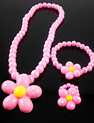 Girls' Jewelry Set Party Pearl Resin Flower Sunflower 1 Necklace 1 Bracelet 1 Ring