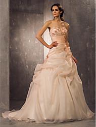 Linha A Princesa Decote Princesa Cauda Corte Organza Vestido de casamento com Miçangas Apliques Drapeado Lateral de LAN TING BRIDE®
