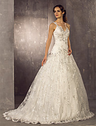cheap -A-Line One Shoulder Sweep / Brush Train Lace / Satin Made-To-Measure Wedding Dresses with Beading / Appliques by LAN TING BRIDE®