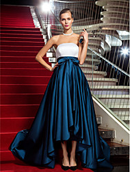 cheap -A-Line / Princess Strapless Asymmetrical Satin Cocktail Party / Formal Evening / Black Tie Gala Dress with Draping by TS Couture®