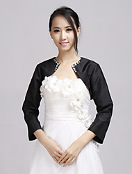 cheap -Long Sleeves Taffeta Wedding Party Evening Office & Career Wedding  Wraps With Rhinestone Beading Coats / Jackets