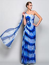 Bainha / coluna um ombro chão comprimento vestido de noite de tule com cristal por ts couture®