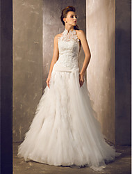 cheap -Sheath / Column Halter Court Train Lace Tulle Wedding Dress with Lace Sash / Ribbon Button by LAN TING BRIDE®