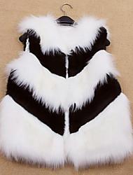 gilet di pelliccia con maniche colletto in finto partito di pelliccia / gilet casuale