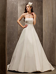 cheap -A-Line Princess Strapless Sweep / Brush Train Satin Tulle Wedding Dress with Beading Sash / Ribbon Ruche by LAN TING BRIDE®