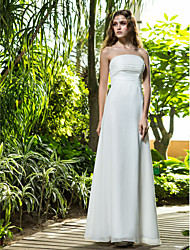 Sheath / Column Strapless Floor Length Cotton Wedding Dress with Flower Ruche by LAN TING BRIDE®