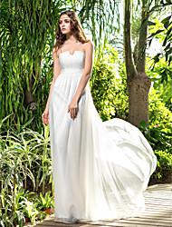 cheap -Sheath / Column Strapless Floor Length Chiffon Wedding Dress with Sash / Ribbon Ruche Side-Draped by LAN TING BRIDE®
