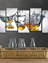 cheap -Stretched Canvas Print Art Abstract Droping Set of 5