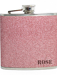 cheap -Personalized Father's Day Gift Pink Splash 5oz PU Leather Capital Letters Flask