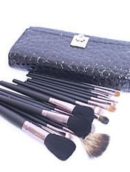 Недорогие -Pro Высокое качество 15 ПК натурального козьего волос кисти для макияжа Набор Черный крокодил мешок кожи