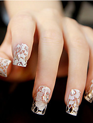 economico -12PCS White Lace trasparente con strass glitter Wedding Nail Stickers Flower Pattern