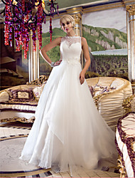 cheap -A-Line / Princess Queen Anne Court Train Lace / Organza Made-To-Measure Wedding Dresses with Beading / Appliques / Button by LAN TING BRIDE® / See-Through