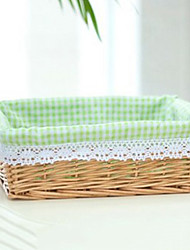 cheap -Classic Small Beige Rattan Laundry Basket with Green Plaid Lining