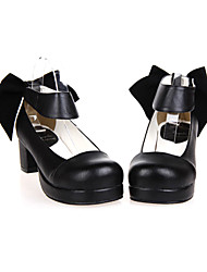 Lolita Shoes Classic/Traditional Lolita Handmade High Heel Shoes Solid 4.5 CM Black For PU Leather/Polyurethane Leather