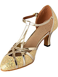 Women's Modern Ballroom Sparkling Glitter Leatherette Heel Customized Heel Silver Gold Non Customizable