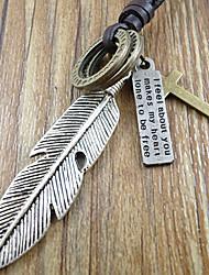 Недорогие -Муж. Ожерелья с подвесками Крестообразной формы Перо Кожа Сплав Первоначальные ювелирные изделия Бижутерия Назначение Повседневные