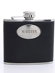 cheap -Personalized Father's Day Gift Black Curve 5oz PU Leather Capital Letters Flask