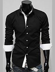 Chemise Pour des hommes Couleur plaine Décontracté Coton Manches longues Noir / Rouge / Blanc / Beige