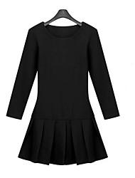 Mengyixuan Round Collar Elastic Slankende Plisseret kjole (Sort)