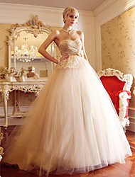 cheap -A-Line Princess Sweetheart Court Train Tulle Wedding Dress with Sash / Ribbon Criss-Cross Flower by LAN TING BRIDE®