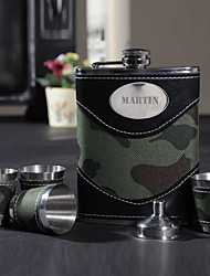 cheap -Personalized Father's Day Gift Period 8oz PU Leather Capital Letters Flask with 4pcs Cup Set