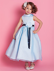 cheap -A-Line Princess Ankle Length Flower Girl Dress - Satin Sleeveless High Neck by LAN TING BRIDE®