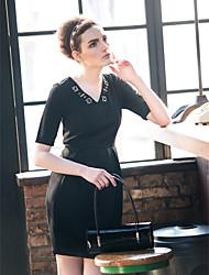 Недорогие -TS Бусы V шеи Половина рукава Puff платье