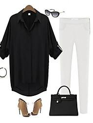 Damen Solide Einfach Lässig/Alltäglich Hemd,Hemdkragen Alle Saisons Langarm Polyester Dünn