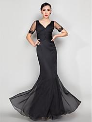 povoljno -Sirena kroj V izrez Do poda Šifon Formalna večer Haljina s Perlica Aplikacije Križano po TS Couture®