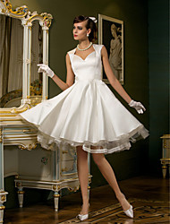 A-Line Queen Anne Knee Length Satin Tulle Wedding Dress with Lace Button by LAN TING BRIDE®