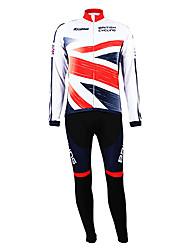 Kooplus Maglia con salopette lunga da ciclismo Per uomo Manica lunga Bicicletta Set di vestiti Tenere al caldo Fodera di vello Permeabile