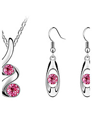 cheap -Crystal Crystal / Austria Crystal Jewelry Set Earrings / Necklace - Pink / Navy / Transparent Jewelry Set For Party / Birthday /