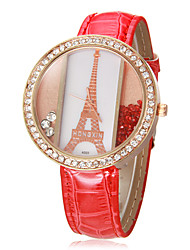 Women's Eiffel Tower Pattern Rolling Beads Round Dial PU Band Quartz Analog Wrist Watch (Assorted Colors) Cool Watches Unique Watches