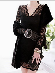 CoolCube Dame V-hals Lace langærmet Bodycon Dress Black