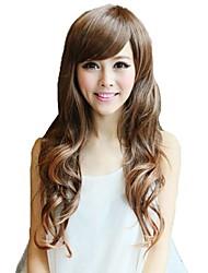 longue perruque bang côté synthétiques brun clair ondulées du corps résistant à la chaleur