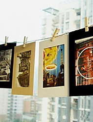 cheap -6 Inch 10 Pack Scenery Pattern Hanging Paper Photo Frame (Black,White,Brown)