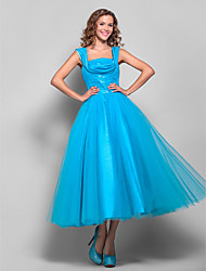 Ball Gown Straps Tea Length Tulle Cocktail Party Homecoming Prom Holiday Dress with Ruching by TS Couture®