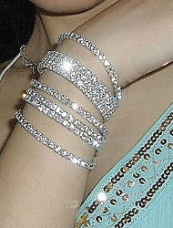cheap -Korean Simple Row Crystals Elastic Bracelet