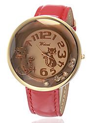 baratos -Mulheres Relógio de Moda Relógio de Pulso Quartzo Venda imperdível Banda Analógico Amuleto Preta / Branco / Vermelho - Preto Marron Vermelho