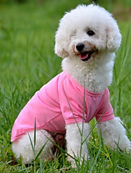 Dog Shirt / T-Shirt Dog Clothes Solid Yellow Red Green Blue Pink