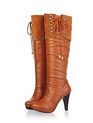 baratos -Mulheres Sapatos Courino Outono / Inverno Salto Robusto / Plataforma 45,72 a 50,8 cm / Botas Cano Alto Corrente Preto / Marrom / Festas & Noite