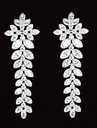 Pendientes de gota de las mujeres agraciadas platinados con Zircon hoja en forma de