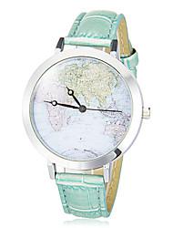 Da donna Orologio alla moda Giapponese Quarzo PU Banda Vintage Mappa del mondo schema Nero Bianco Blu Rosa