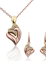 Jewelry Set 18K gold Simulated Diamond Alloy Fashion Gold Screen Color Party 3pcs 1 Necklace 1 Pair of Earrings Wedding Gifts