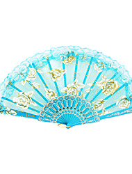 Gold Rose Pattern Lace Hand Fan