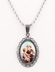 abordables -Regalos personalizados Patrón cristiana grabado collar