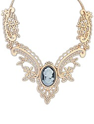 Vintage Style (Flowers) belagte Alloy Resin Cutout Chain Statement Necklace (flere farver) (1 stk)