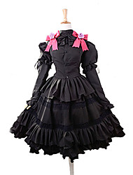 cheap -Inspired by Date A Live Kurumi Tokisaki Anime Cosplay Costumes Cosplay Suits Dresses Bowknot Top Skirt Headband For Women's