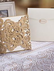 """abordables -Plis Fenêtre Invitations de mariage Cartes d'invitation Style floral Papier d'art 6 1/4""""×6 1/4"""" (16*16cm)"""